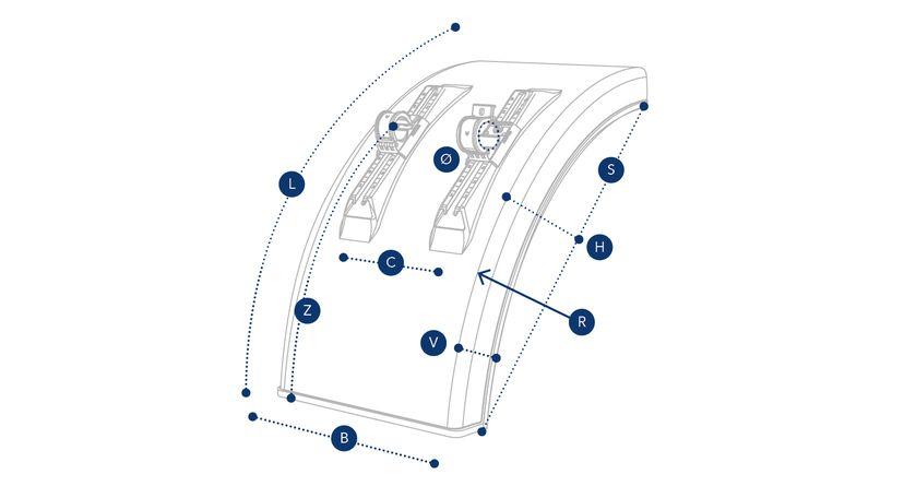 Напівкрило вантажного автомобіля з вбудованим кронштейнами Domar DK3335, В=430 мм, Ø=42 мм (Італія)